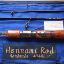 Honnami Rod 474UL (Rosewood male with black face Red trout carving)